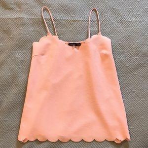BooHoo Scalloped Pink Tank Top